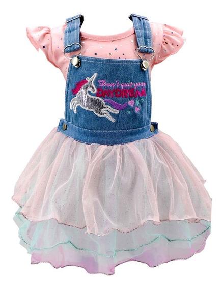 Vestido Casual Tutu Unicornio Con Blusita En Oferta 03623
