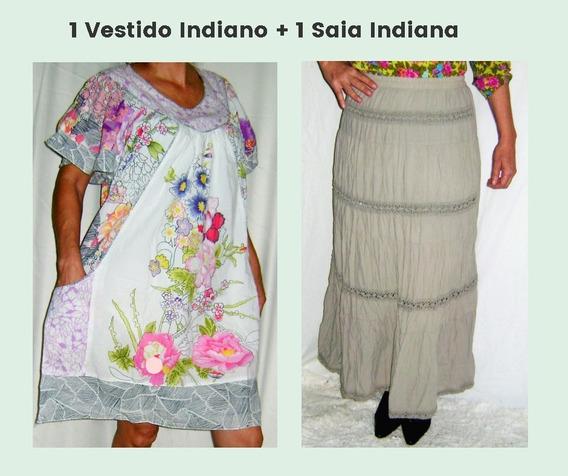 Um Vestido Indiano Usado + Uma Saia Indiana Usada Tamanho M