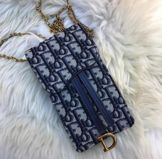 Bolsa Dior Saddle Porta Celular Azul Oblique 2019