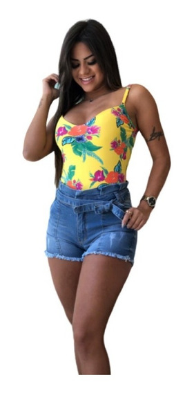 Bermuda Shorts Feminina Clochard Jeans Com Lycra 34 Ao 46