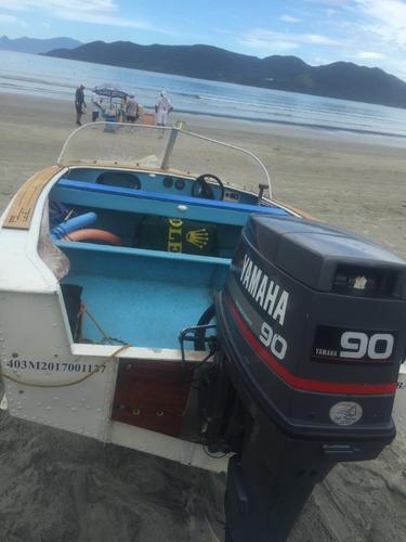 Imagem 1 de 14 de Barco Ubirajara Aluminio 16 Com Motor Yamanha 90hp  2 Tempos
