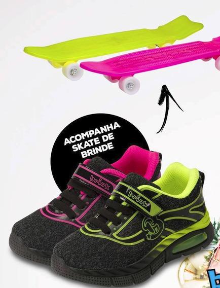 Tenis Brink Soft Com Brinde Skate Preto/amarelo Preto/pink