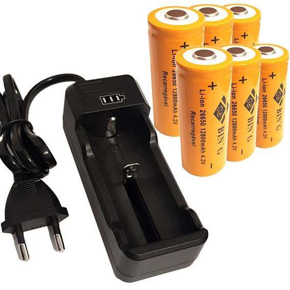 Kit Carregador + 6 Bateria 26650 4,2v 12800mah Lanterna X900