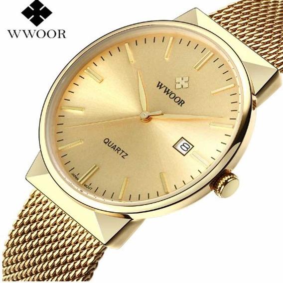 Relógio Wwoor 8826 De Luxo Dourado Ultra Fino Original