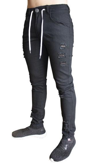Calça Jeans Preta Masculina Destroyed J03 Rasgada Com Cordão