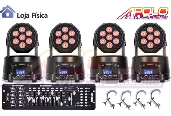 Kit 4 Mini Moving Wash 7x12w + Mesa Dmx + Garras Loja Fisica