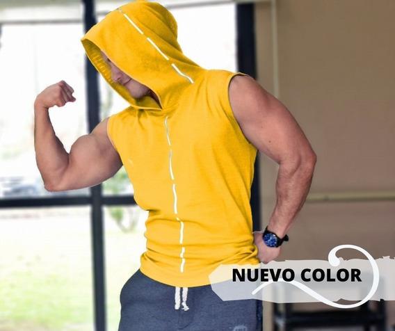 Musculosa Reflectiva Gym Con Capucha Tira Reflectiva !! 7100