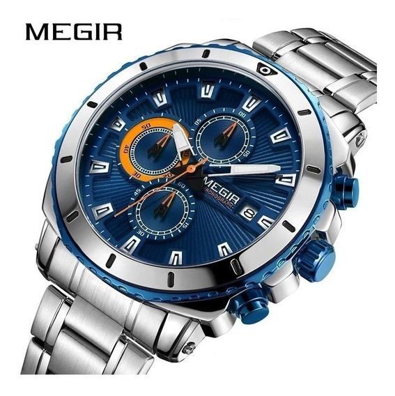 Relógio Megir 2075 Prata Original 30 Metros Inoxidável Blue