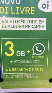 Chip Oi Livre Lote C/ 2 Un Ddd22/3gb/min.ilimitados R$15 Mês