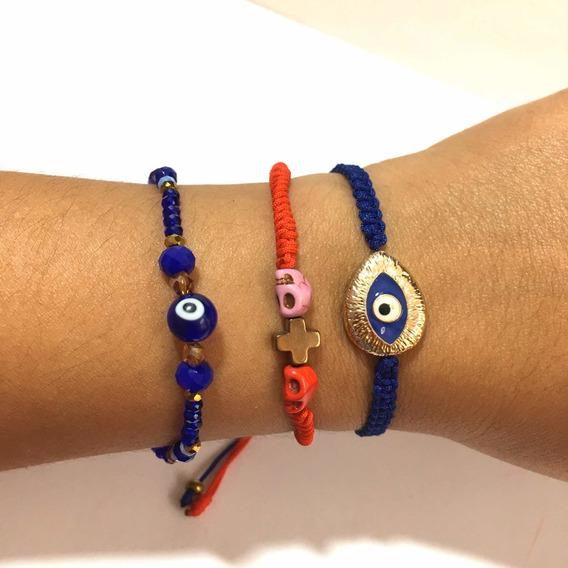 3 Pulseras Ojo Turco Amuleto Protección Accesorios Moda