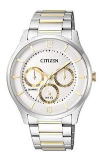 Reloj Hombre Citizen, Acero Y Dorado, Calendario Wr50m