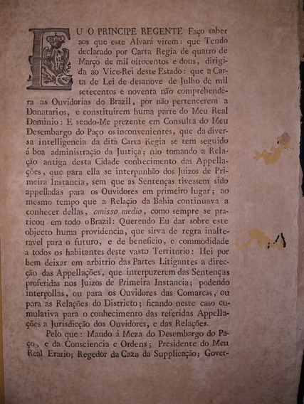Raro Documento: Impressão Régia