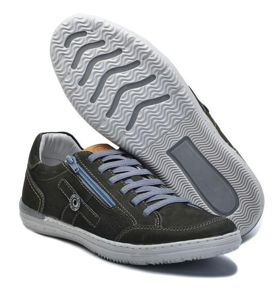 Sapato Tenis Couro Masculino Ziper Bm Brasil 865