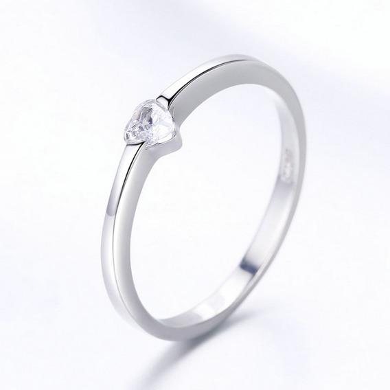 Regalo 14 Feb Anillo Plata 925 Zirconia Diamante Corazón