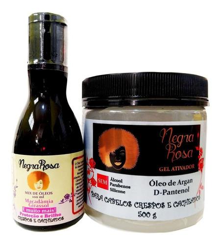 Gel Ativador De Cachos 500g + Mix Óleos 100ml Negra Rosa
