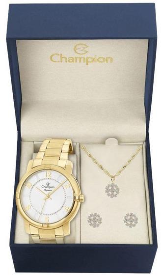 Relógio Feminino Champion Dourado Cn26644w Com Kit Semijoias