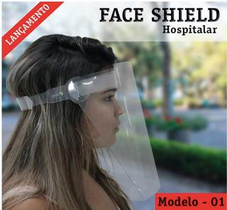 Máscara Hospitalar Facial Protetora Respingos Face Shield