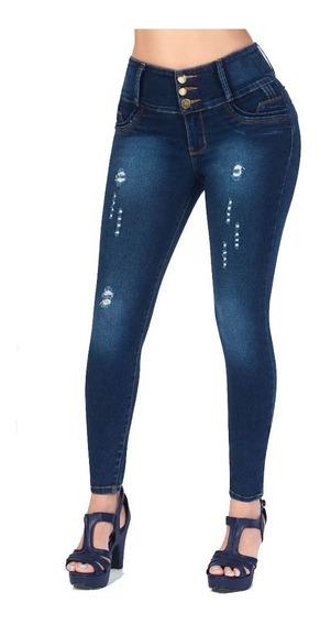 Jeans Levanta Pompas Con Detalles Destrucción