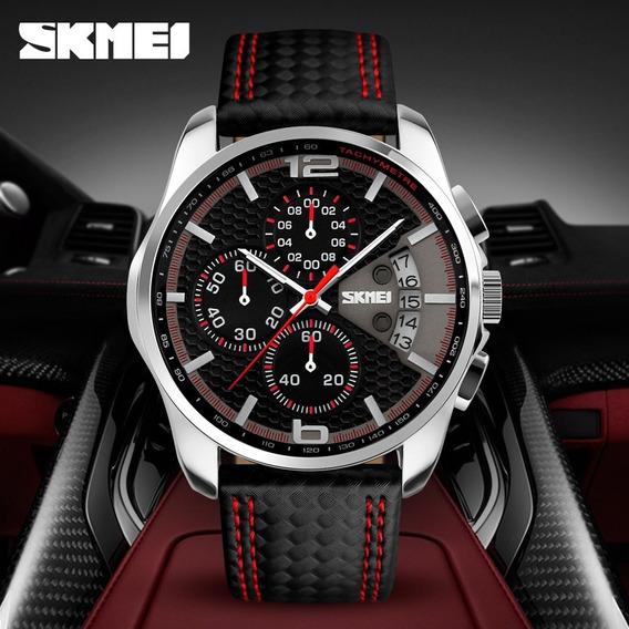 Relógio Original Skmei 9106 Com Cronógrafo Elegante