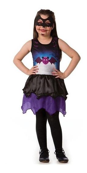 Roupa De Halloween Feminina Infantil Morcego Com Mascara