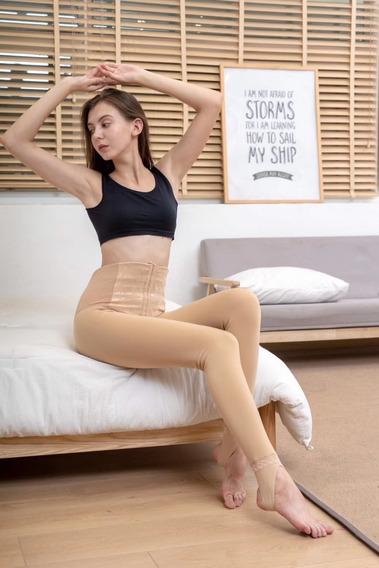 Legging Reductor Felpa Cálida Delgada De Cintura Alta Mujer