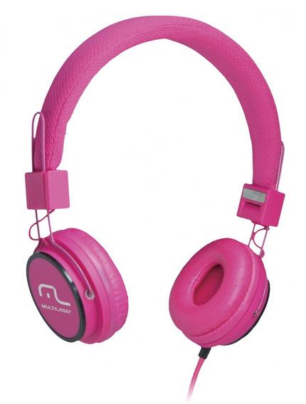 Headphone Head Fun Com Microfone P2 3,5mm Hi-fi Rosa