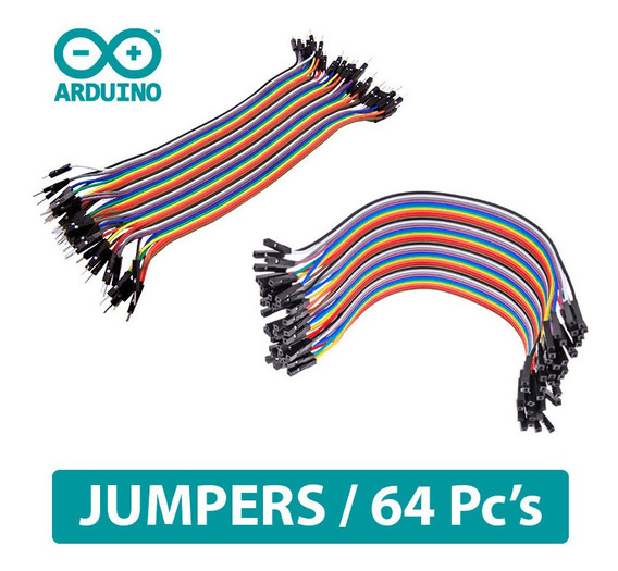 Cabo Jumper 64pcs Macho X Macho E Femea X Femea 20cm Arduino