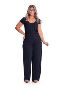 Macacão Longo T-shirt Plus Size Pantalona Malha Macaquinho