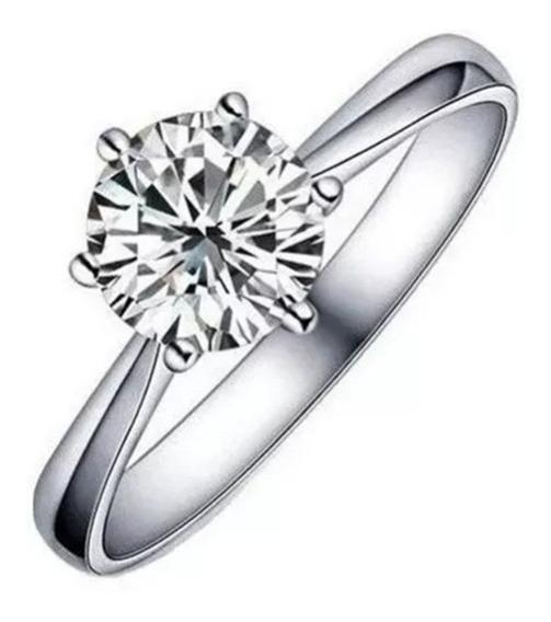 Anel Noivado Compromisso Casamento Banhado A Prata Zircônia
