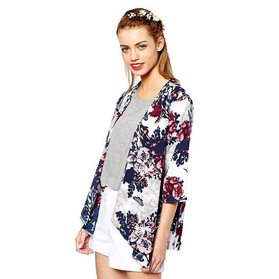 Floreado Para Mujer, Abierto C/mangas Murciélago,kimono