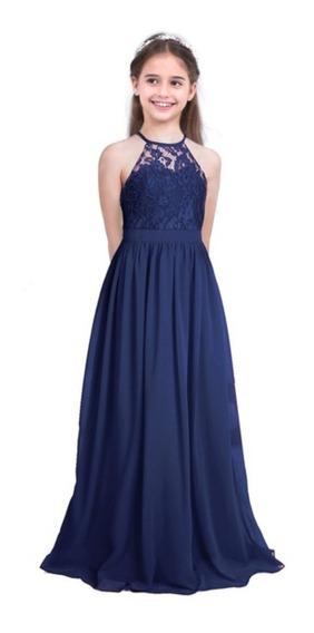 Vestido De Niña Juvenil Largo Casual Matrimonio Elegante 10