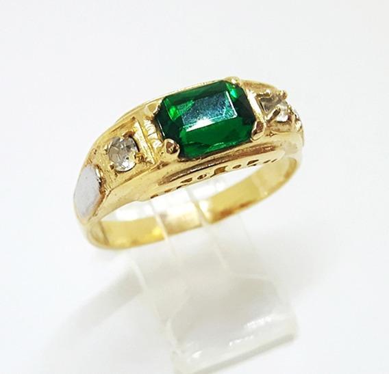 Anel Formatura Folheado A Ouro 18k Verde Esmeralda