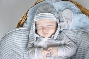 Kit Saída Maternidade Menino Inverno Plush Azul E Branco