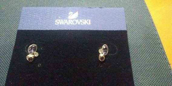 Par De Aros De Plata Con Piedra Original Swarovski