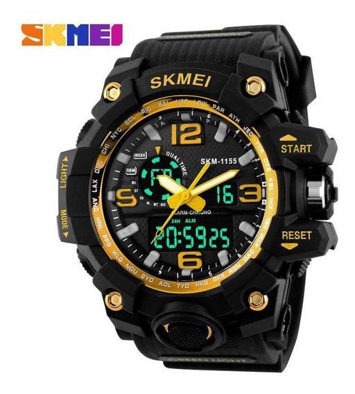 Relógio Masculino Skmei 1155 Gold, Prova D