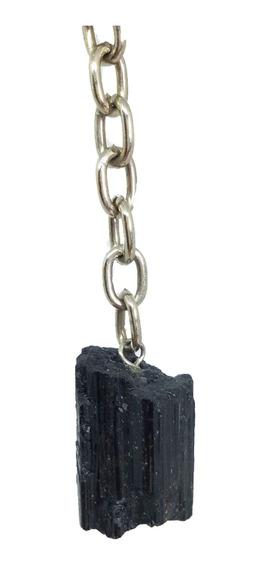 Chaveiro Com Pedra Turmalina Negra Bruta Natural