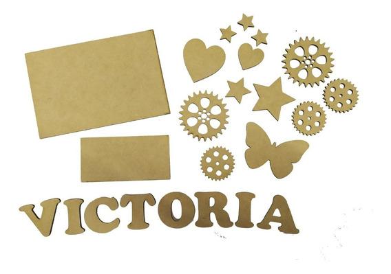 30 Engranajes 4cm Fibrofacil Mdf Letras Palabras