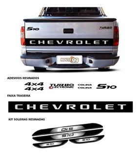 Kit Faixa S10 2007 Preto + Emblemas + Soleira Com Black Over