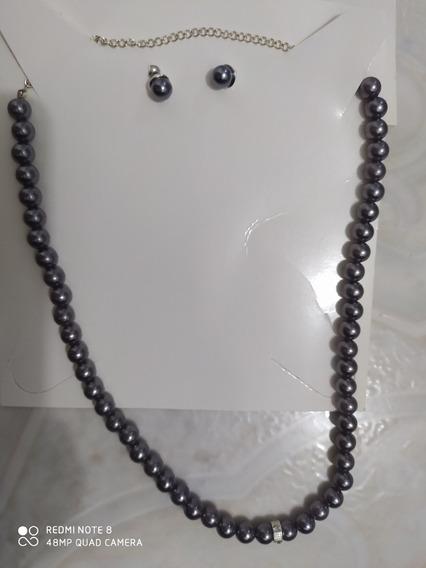 Collar De Plata, Perlas Color Uva Baño De Rodio Y Zirconias