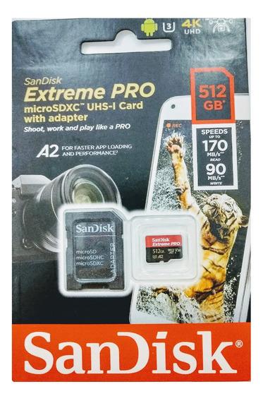Cartão Sd Sandisk Extreme Pro 512gb Microsdxc Uhs-i Lacr 12x