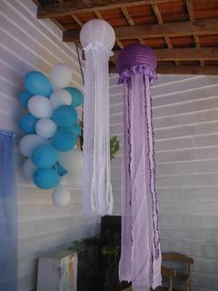 4 Lanterna Japonesa Balão Para Decoração Tema Águas Vivas