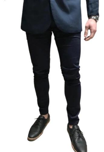 Pantalon Farenheite De Vestir Chupin Hombre Azul