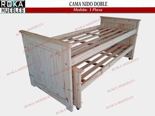 Cama Nido Doble 1 Plaza Madera Maciza De Pino Roka