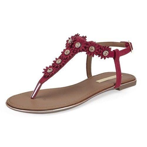 Sandalia, Color Rojo, 4 Elementos, Verano, Moda, Dama
