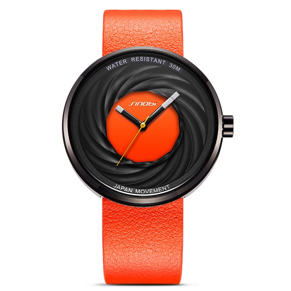 Sinobi 9683 Unisex Moda Criador Relógios Genuíno Couro Cinta