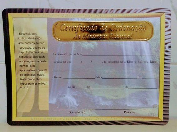 Certificado Moldura Dourada Pastor - Diácono - Presbítero