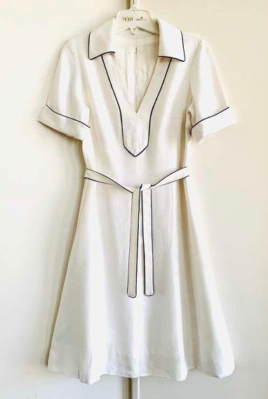Vestido Muy Buen Diseño Ribeteado Forrado Elegante Vintage