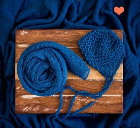 Wrap Com Gorro Para Newborn - Azul