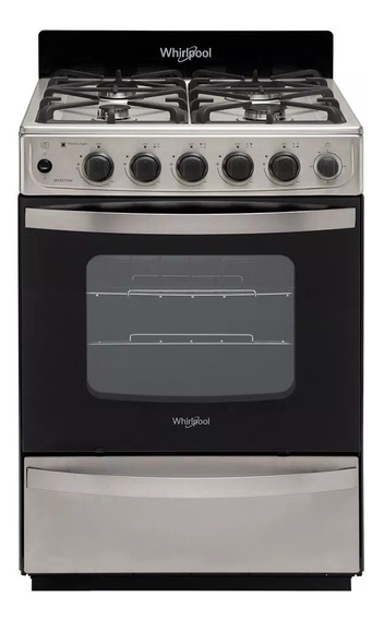 Cocina A Gas Whirlpool 56cm Inox Rejilla Hierro Wfx57di