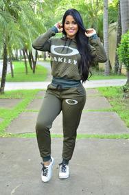 Conjunto Moletom Feminino Oakley Moleton Casaco Calça Kit 10